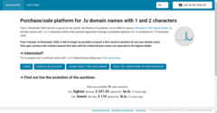 Auction sale platform for .lu domain names with 1 and 2 characters